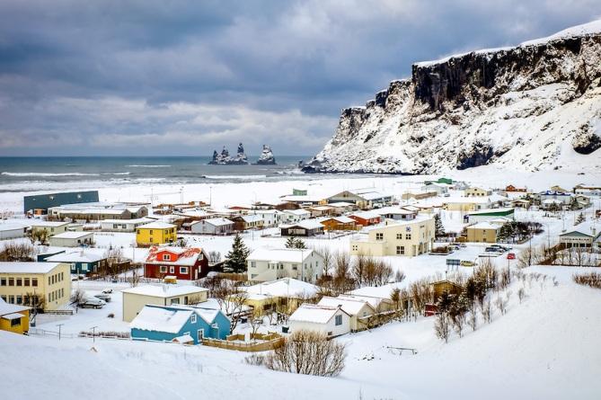Town of Vik in Winter